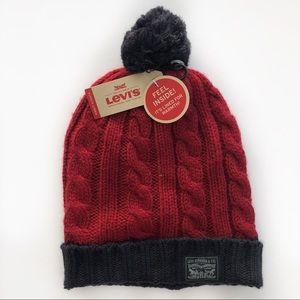 Levi's Cable Knit Cuff Pom Pom Beanie NWT